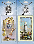 Catholic prayer cards with patron saint medals