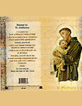 Prayer card with Catholic saint biography
