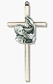 Pearlized Boy's Commuion Wall Cross Portrait