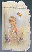 Praying Boy Spanish Communion Greeting Card