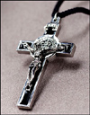 St Benedict Silver Plate Corded Crucifix