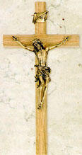 10 inch Walnut and Antique Gold Crucifix