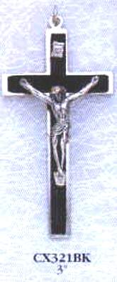 3 Inch Black Wood Metal Bound Crucifix Pendant