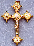 Metal Ornate All Gold Tint Crucifix