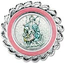 Sterling Plate Crib Medal Pink - Guardian Angel
