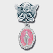 Silver Angel Baby Girl Pin with Fancy Border