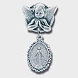 Silver Angel Baby Pin with Ornate Border
