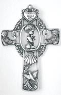 Baby Boy Baptism Pewter Wall Cross