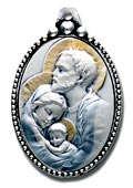 Holy Family Sterling Silver Keychain