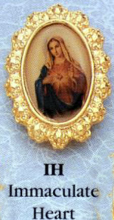 Immaculate Heart Fancy Gold Rim Lapel Pin