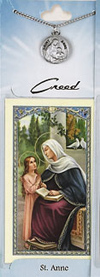 St Anne Prayer Card with Pewter Medal