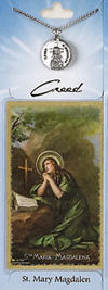 St Mary Magdelene Prayer Card with Pewter Medal