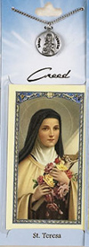 St. Therese Little Flower Prayer Card with Pewter Medal