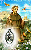 St Francis Laminated Prayer Card with Medal