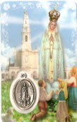 Our Lady of Fatima Prayer Card and Medal