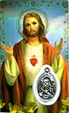 Sacred Heart Laminated Prayer Card  with Medal