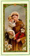 Saint Anthony Laminated Prayer Card - Saint of Miracles