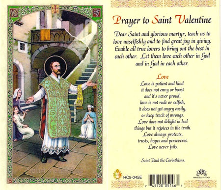 saint valentine laminated prayer card - Saint Valentine Prayer