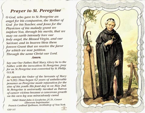 St Peregrine Linen Prayer Card: www.discountcatholicproducts.com/St-Peregrine-Linen-Prayer-Card...