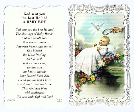 Baby Boy Linen Prayer Card
