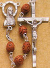 22 Inch Men's Rosary with Carved Wood Beads
