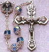 Double Capped Blue Glass Bead rosary