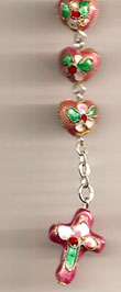 Cloisonne Decade Pink Rosary Bracelet