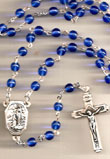Lourdes Water Blue Bead Rosary