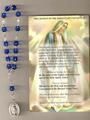 Sapphire Glass Immaculate Conception Chaplet