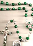 All Sterling Silver Malachite Rosary
