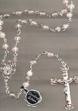 All Sterling Silver Light Pink Grey Quartz Rosary