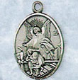 Sterling Oval Round Guardian Angel Medal