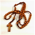 Natural Wood Cord Rosary with Square Beads