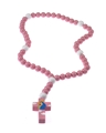 Large Pink Wood Mary with Jesus Rosary in Gift Box