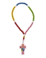 Multi-Color Wood Stretch Rosary - Pink Light of the World