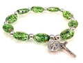 Green Murano Glass Stretch Rosary Bracelet