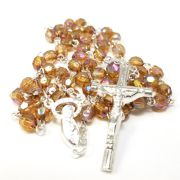 Brown Acrylic Crystal Silver Rosary