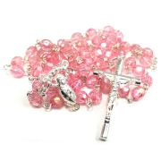 Pink Crystal Acrylic Silver Rosary