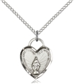 Silver Miraculous Communion Heart Pendant