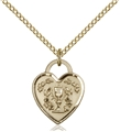 Gold Filled Embossed Communion Heart Pendant