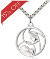 Sterling Silver Madonna and Child Profile Necklace