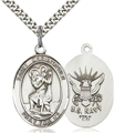 1 Inch Oval Silver Navy St Christopher Medal