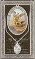 Pewter St. Michael Medal on Stainless Steel Chain with Prayer