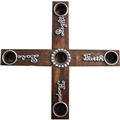 Light, Faith, Hope, Love Wood Cross Advent Wreath with candles