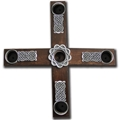 Celtic Knot Wood Cross Advent Wreath with candles