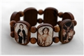 7 Archangels Tan Wood Bracelet