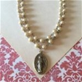 "Vintage Inspired Pearl Miraculous Medal Necklace, ""Bren"""