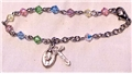 4mm Swarovski Multi-Colour Rhodium Plated Baptismal Bracelet with Sterling Crucifix & Miraculous Medal, Boxed