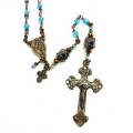 Antiqued Bronze with Aqua Glass Bead Rosary