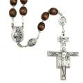 Saint Francis and Clare of Assisi Wood Rosary